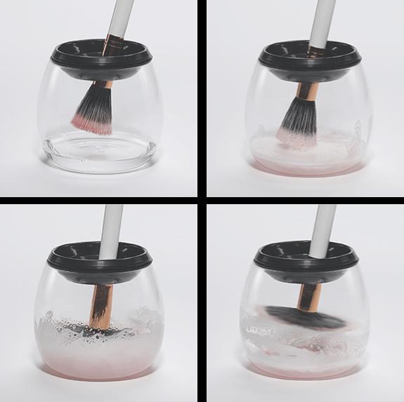 makeup brush cleaner & dryer box 4 steps